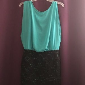 Turquoise and Black Lace Dress